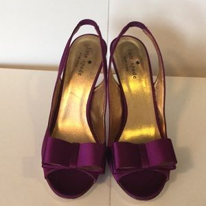 NEW - kate spade purple slingbacks w bow. 7-1/2